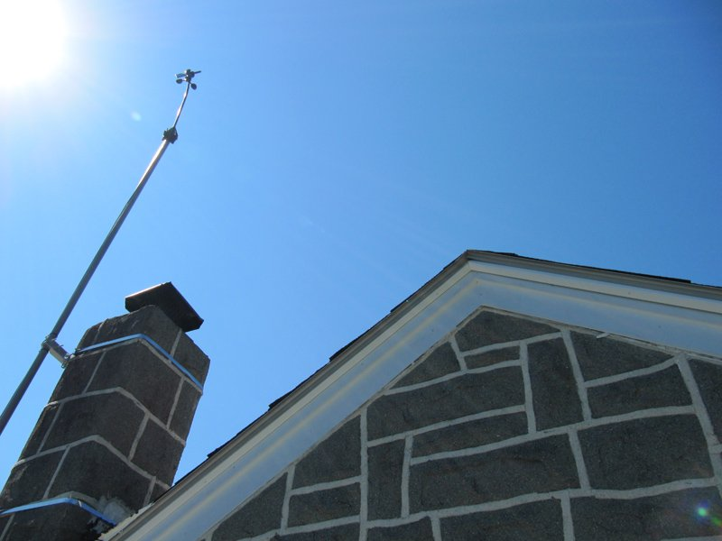 weather station on a chimney mount