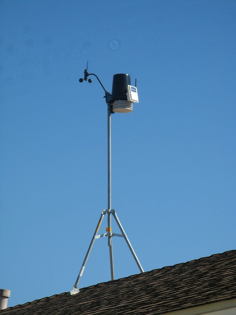 roof mounted weather station on a tripod